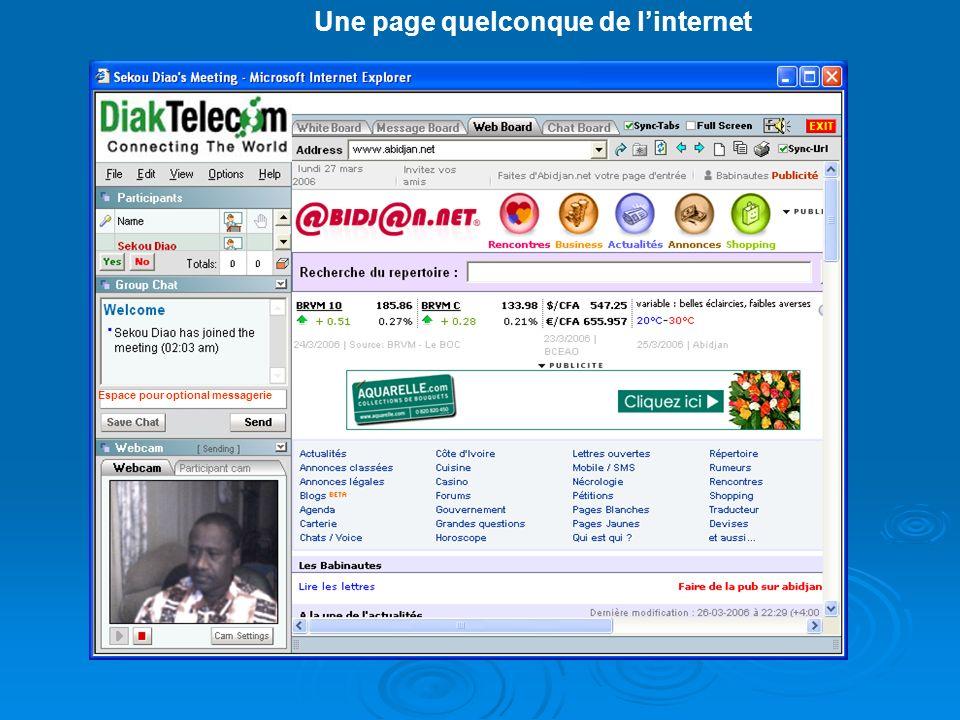 Une page quelconque de linternet Espace pour optional messagerie