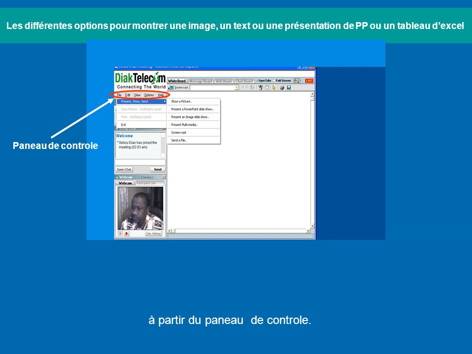 Les différentes options pour montrer une image, un text ou une présentation de PP ou un tableau dexcel à partir du paneau de controle.