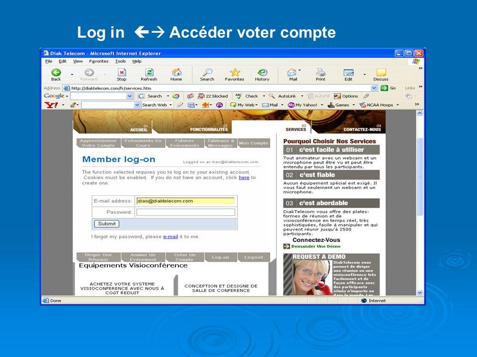 Log in Accéder voter compte