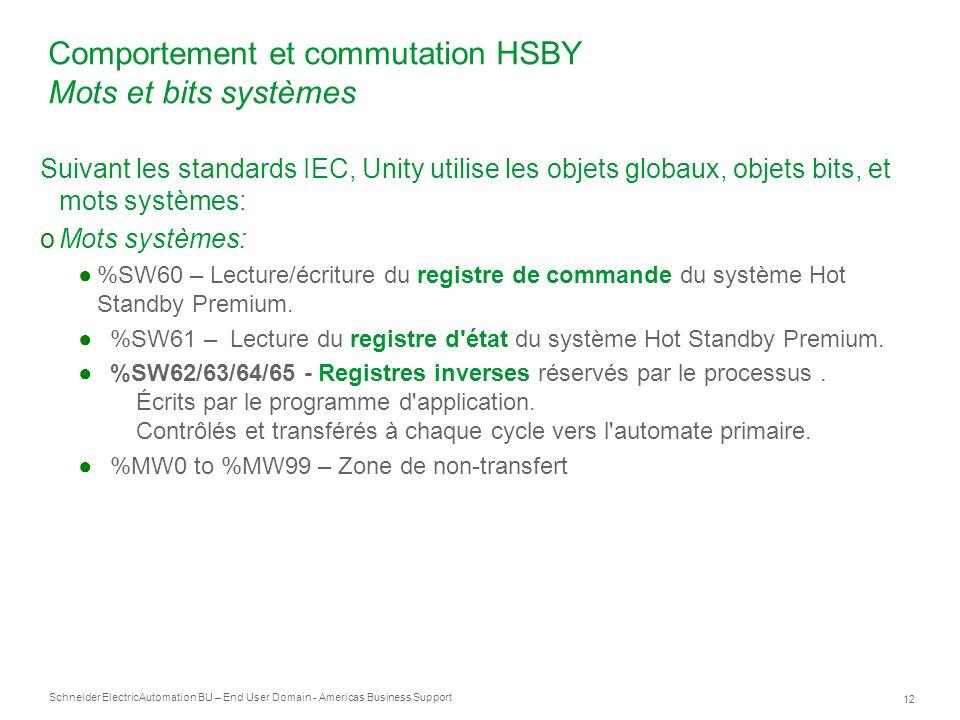 Schneider Electric 12 Automation BU – End User Domain - Americas Business Support Suivant les standards IEC, Unity utilise les objets globaux, objets
