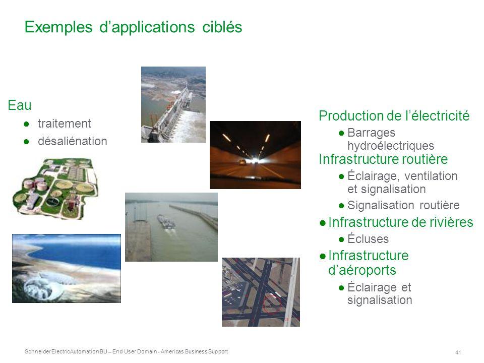 Schneider Electric 41 Automation BU – End User Domain - Americas Business Support Production de lélectricité Barrages hydroélectriques Infrastructure