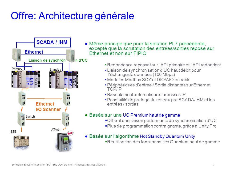 Schneider Electric 6 Automation BU – End User Domain - Americas Business Support Offre: le catalogue TSXH5724M Processeur Hot Standby d entrée de gamme 768 kB mémoire programme, 192 kB mémoire de données Unity Pro 3.1 (M, L or XL), max 2 TSXETY4103 / 5103 (>= v4.0) TSXH5744M Processeur Hot Standby de milieu de gamme 2 MB mémoire programme, 440 kB mémoire de données Unity Pro 3.1 (L, XL), Max 4 TSXETY4103 / 5103 (>= v4.0) Les processeurs vont avoir une couche Conformal ( TSXH57.4MC ) Certifications Identiques à celles de la solution Premium autonome (secteur industriel et maritime)