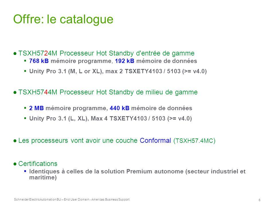 Schneider Electric 6 Automation BU – End User Domain - Americas Business Support Offre: le catalogue TSXH5724M Processeur Hot Standby d'entrée de gamm