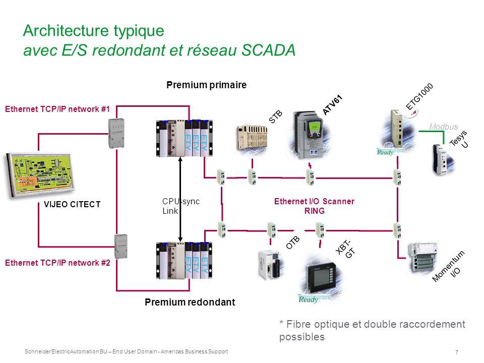Schneider Electric 8 Automation BU – End User Domain - Americas Business Support Étape de configuration HSBY oModules autorisés TSX ETY 4103 / 5103 (SV >4.1) Toutes les alimentations, tous les racks, toutes les cartes mémoire PCMCIA Tous les modules d entrées/sorties TOR et analogiques (y compris Preventa) TSXSCY* Module de maitre Modbus sur RS485 Embedded TSXSCP114 for Modbus Slave Comm oModules non autorisés Tous ceux exclus de la liste ci-dessus Exemple de modules non autorisés : Carte PCMCIA pour les communications de l UC FactoryCast HMI WMY et ETY non-HSBY courant Profibus TSXPBY, Interbus-S TSXIBY Module d extension TSX REY 200 Bus-X, Rack extensible Communication PCMCIA in CPU (CANopen, Fipway) Bus-X expansion module : TSXREY200 Racks extensibles Contrôle lors du build oProgrammation - points à considérer Seule la première section est exécutée dans l API redondant.
