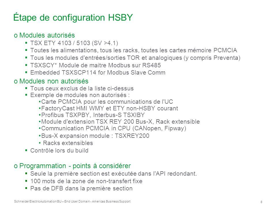 Schneider Electric 8 Automation BU – End User Domain - Americas Business Support Étape de configuration HSBY oModules autorisés TSX ETY 4103 / 5103 (S