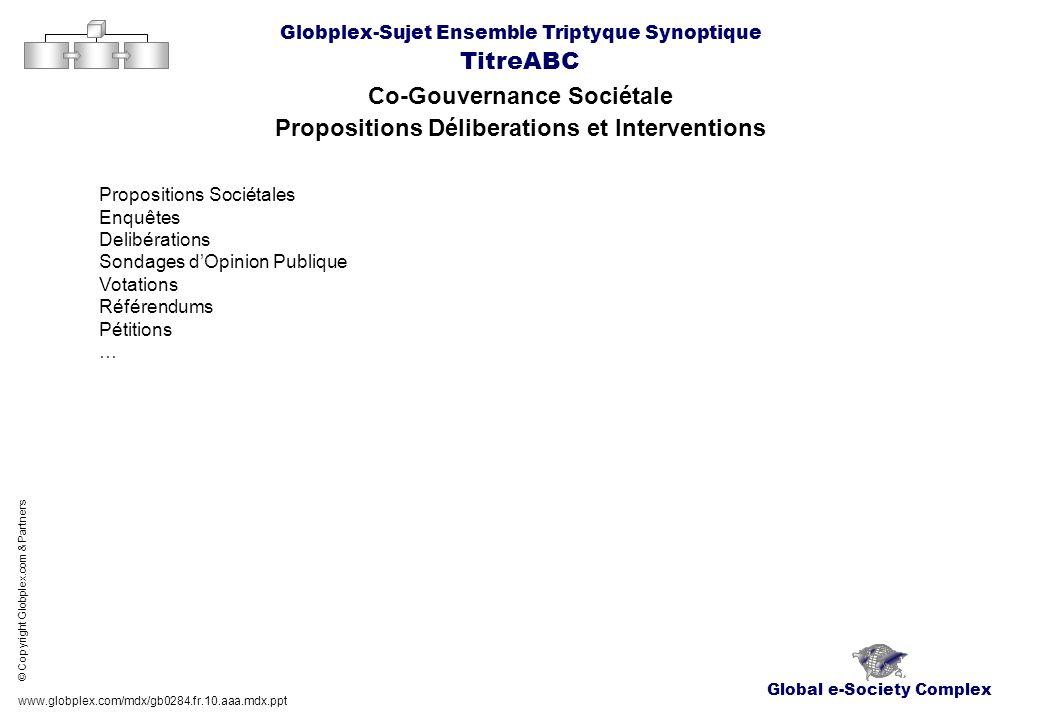 Global e-Society Complex Globplex-Sujet Ensemble Triptyque Synoptique TitreABC Co-Gouvernance Sociétale Propositions Déliberations et Interventions ww