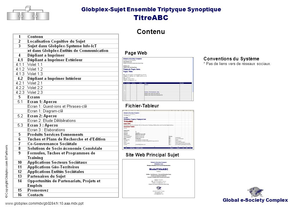 Global e-Society Complex Globplex-Sujet Ensemble Triptyque Synoptique TitreABC Localisation Cognitive, Positionnement dans Globplex du Sujet Références-clé www.globplex.com/mdx/gb0284.fr.10.aaa.mdx.ppt © Copyright Globplex.com & Partners AlfaSujet: AlfaSujet-Code: Géo-Territoire: Géo-Code: Niveau Géo-Subsidiaire: Géo-Sous-Code: Composant: Composant-Code: Secteur: Secteur-Code: Discipline: Discipline-Code: Globplex-Flux: Glob-Flux-Code: Domaine: Site: SubSite: Mots-clé: Chercheur-Editeur: e-Mail: Skype: e-Coacher: e-Mail: Skype: Cube Sociétal Globplex-FindEngine Données-clé Codes Jeu de Fichiers Evaluation Holistique GlocoIndex: Complexity Index: Panergetic Index: