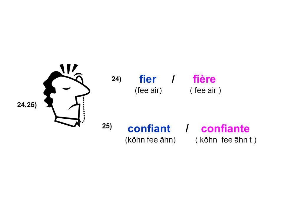 24,25) 24) confiant / confiante (kõhn fee ãhn) ( kõhn fee ãhn t ) fier / fière (fee air) ( fee air ) 25)