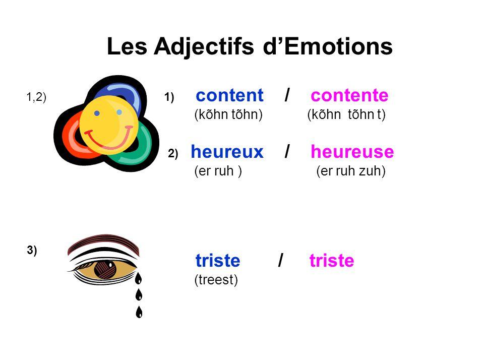 Les Adjectifs dEmotions 1,2) content / contente (kõhn tõhn) (kõhn tõhn t) 1) 2) heureux / heureuse (er ruh ) (er ruh zuh) 3) triste / triste (treest)