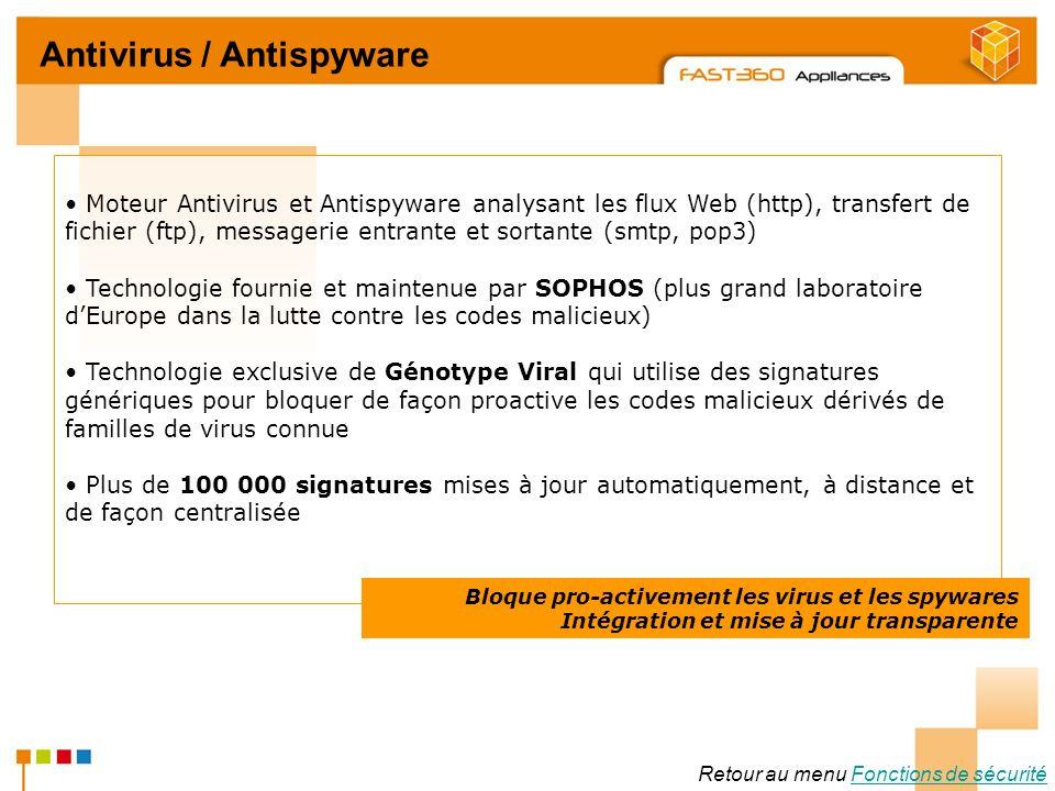 Arkoon Network Security © 2008 Retour au menu Fonctions de sécuritéFonctions de sécurité Antivirus / Antispyware Moteur Antivirus et Antispyware analy