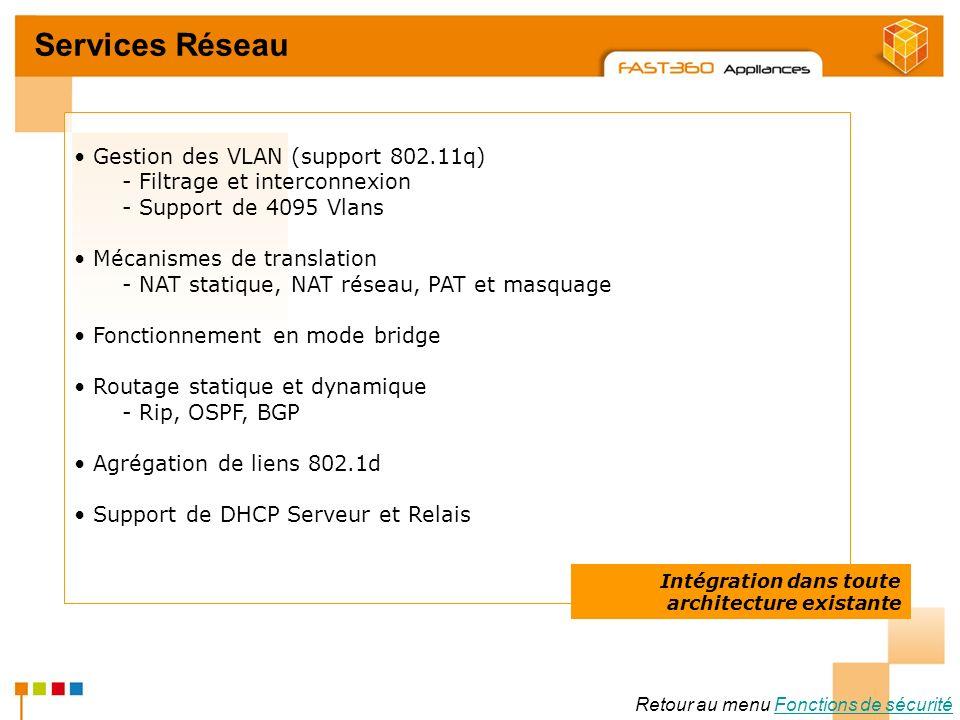 Arkoon Network Security © 2008 Services Réseau Retour au menu Fonctions de sécuritéFonctions de sécurité Gestion des VLAN (support 802.11q) - Filtrage