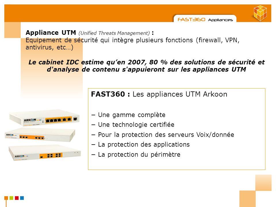 Arkoon Network Security © 2008 Appliance UTM (Unified Threats Management) : Equipement de sécurité qui intègre plusieurs fonctions (firewall, VPN, ant