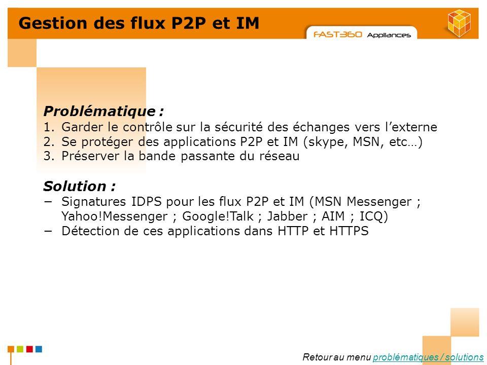 Arkoon Network Security © 2008 Gestion des flux P2P et IM Problématique : 1.Garder le contrôle sur la sécurité des échanges vers lexterne 2.Se protége
