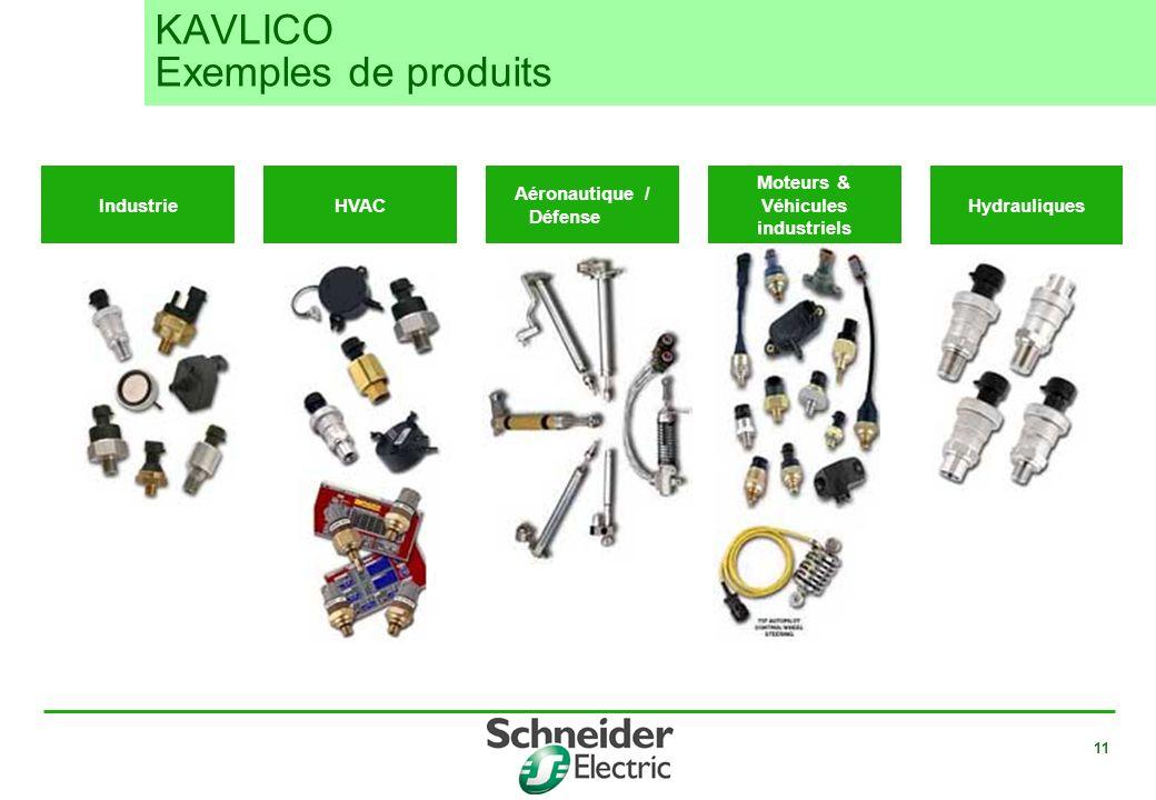 11 Aéronautique / Défense Moteurs & Véhicules industriels Hydrauliques IndustrieHVAC KAVLICO Exemples de produits