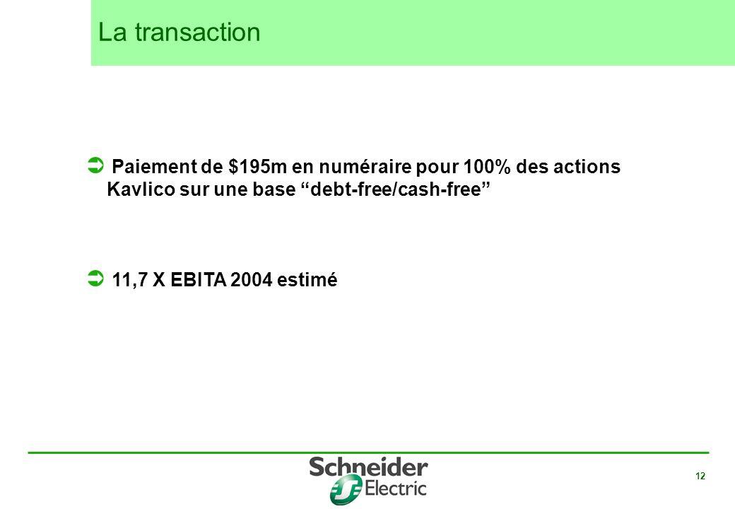 12 Paiement de $195m en numéraire pour 100% des actions Kavlico sur une base debt-free/cash-free 11,7 X EBITA 2004 estimé La transaction