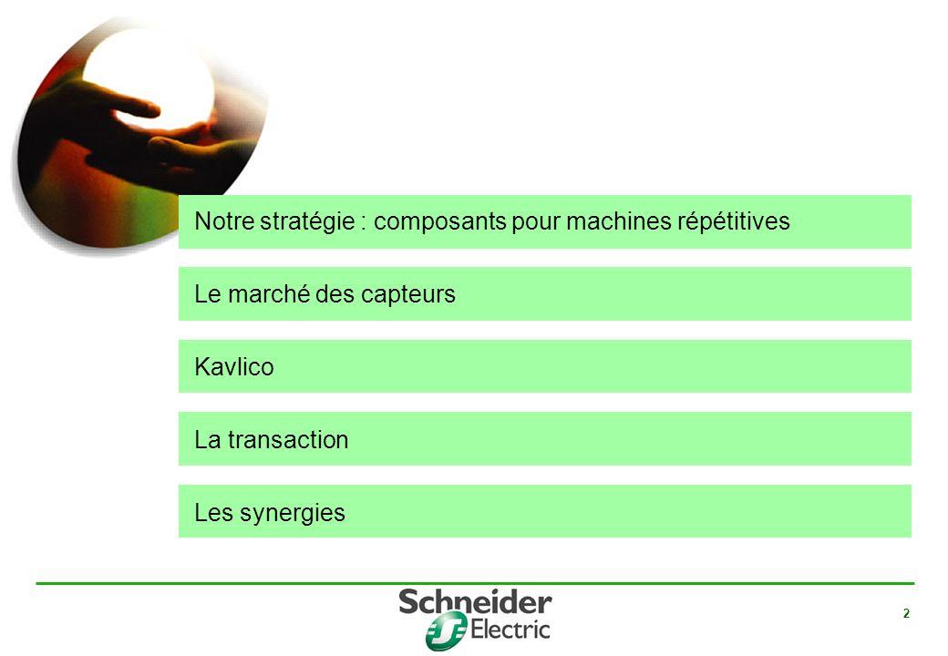 2 Notre stratégie : composants pour machines répétitives Le marché des capteurs Kavlico La transaction Les synergies
