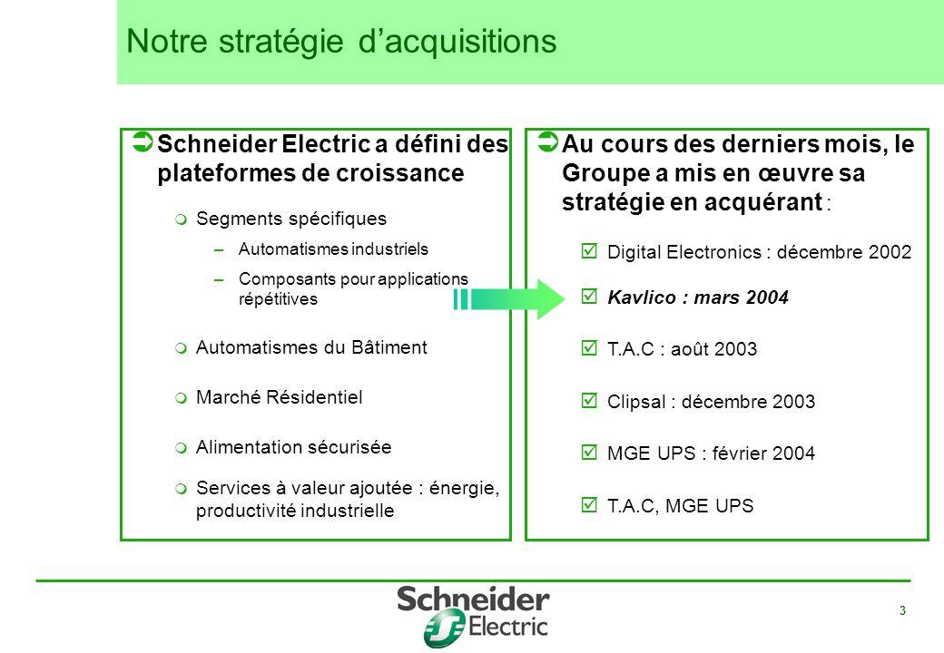 3 Notre stratégie dacquisitions Schneider Electric a défini des plateformes de croissance Segments spécifiques –Automatismes industriels –Composants p