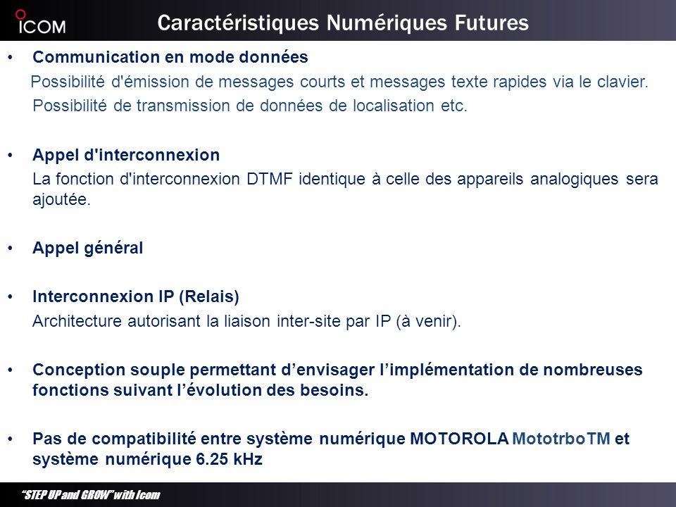 STEP UP and GROW with Icom Caractéristiques Numériques Futures Communication en mode données Possibilité d'émission de messages courts et messages tex