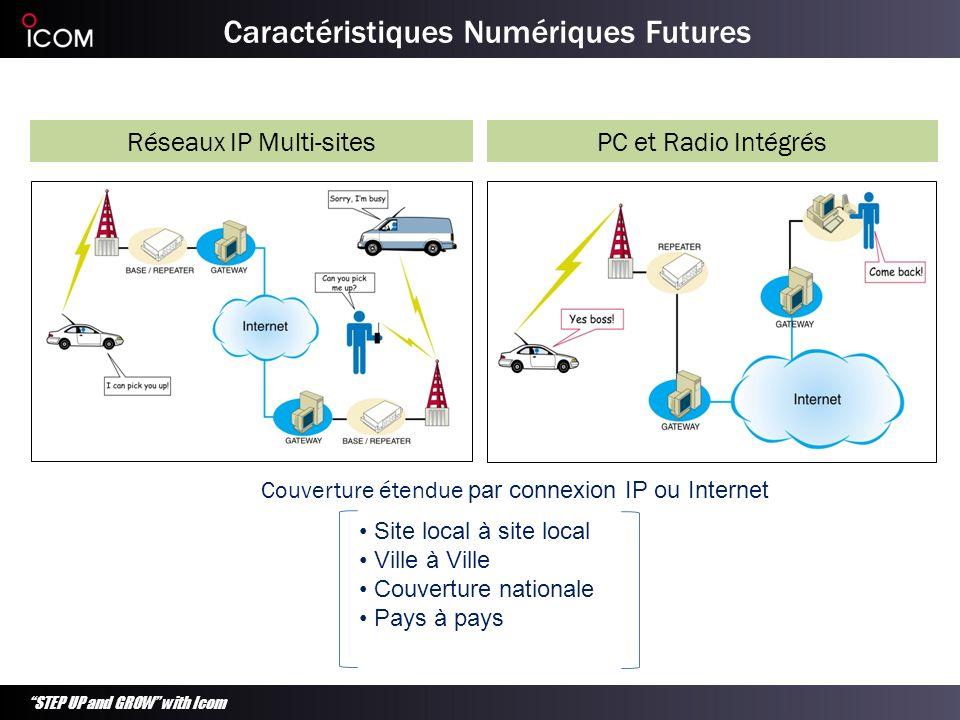 STEP UP and GROW with Icom Caractéristiques Numériques Futures PC et Radio IntégrésRéseaux IP Multi-sites Couverture étendue par connexion IP ou Inter