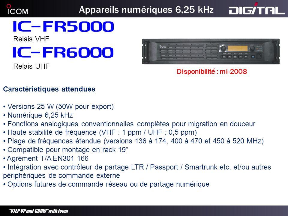 STEP UP and GROW with Icom Appareils numériques 6,25 kHz Relais VHF Relais UHF Caractéristiques attendues Versions 25 W (50W pour export) Numérique 6,