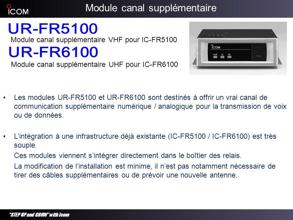STEP UP and GROW with Icom Les modules UR-FR5100 et UR-FR6100 sont destinés à offrir un vrai canal de communication supplémentaire numérique / analogi