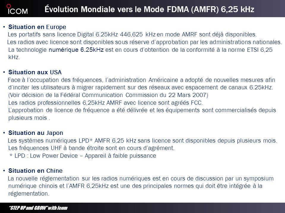 STEP UP and GROW with Icom Normes PMR Numériques Actuelles 1: La documentation technique est disponible pour tous les fabricants 2: Motorola fait la promotion des produits DMR dans lUE sous la marque dorigine Mototrbo TM 3: Pour les équipements sans licence, lEurope a mis en place la norme dPMR446.