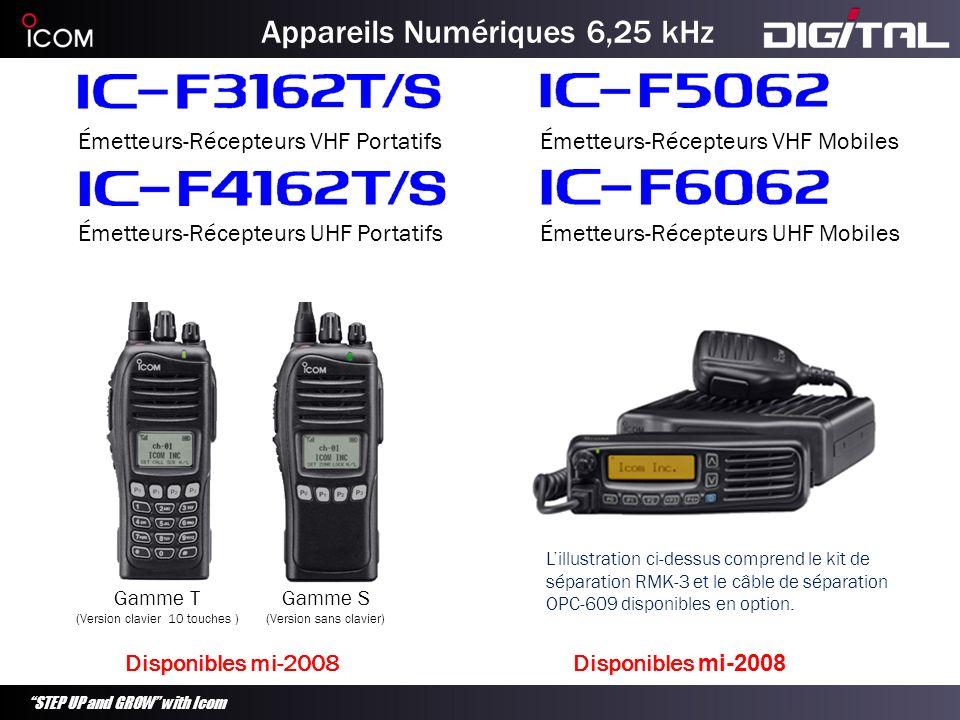 STEP UP and GROW with Icom Appareils Numériques 6,25 kHz Émetteurs-Récepteurs VHF Portatifs Gamme S (Version sans clavier) Gamme T (Version clavier 10