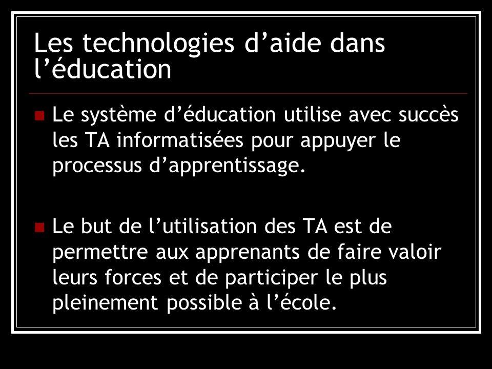 Les technologies daide dans léducation Le système déducation utilise avec succès les TA informatisées pour appuyer le processus dapprentissage.