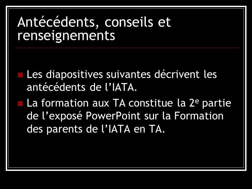 Antécédents, conseils et renseignements Les diapositives suivantes décrivent les antécédents de lIATA.