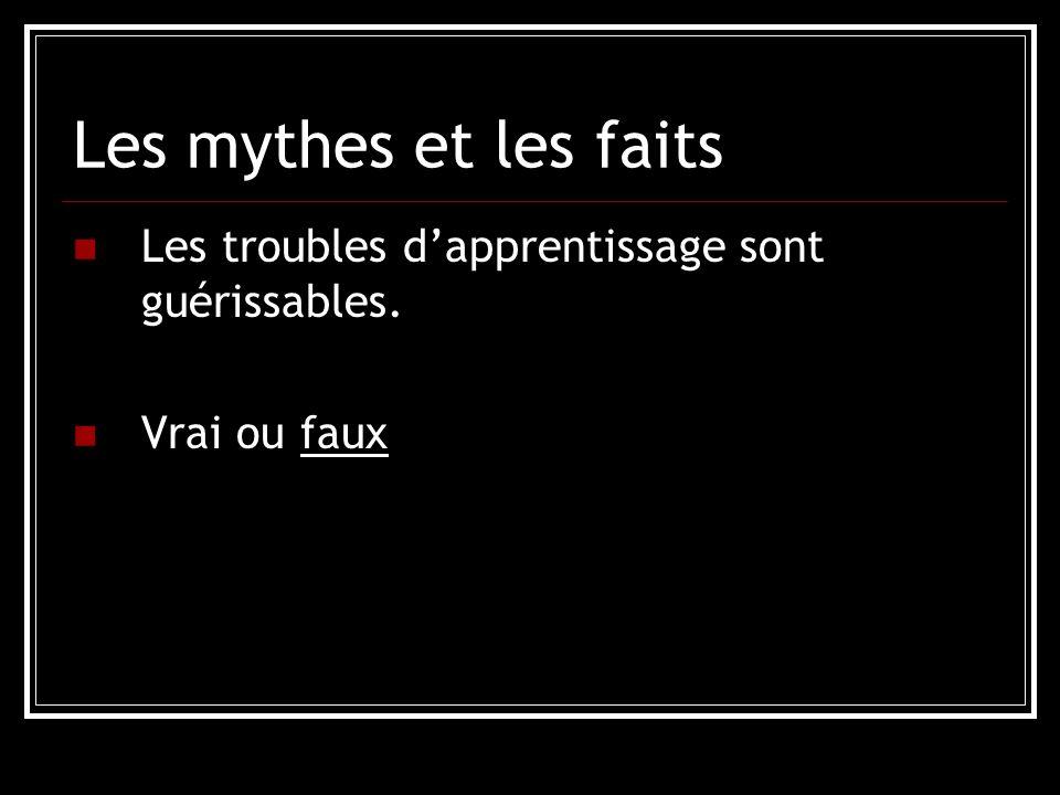Les mythes et les faits Les troubles dapprentissage sont héréditaires. Vrai ou faux