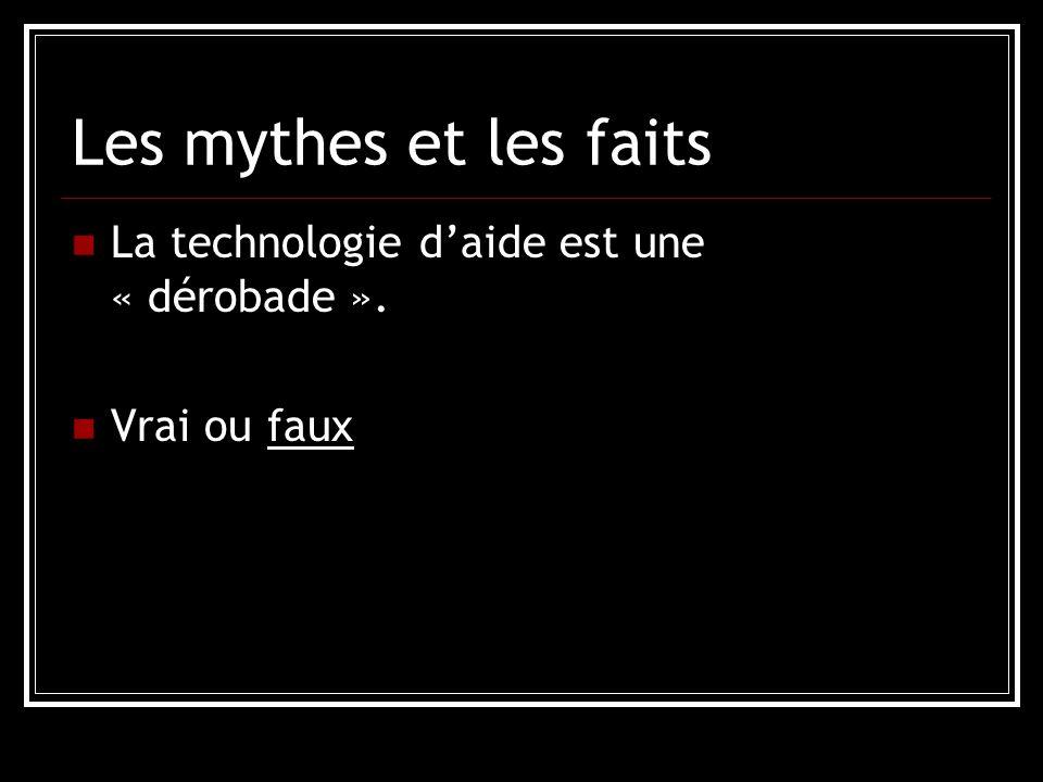 Les mythes et les faits La technologie daide est une « dérobade ». Vrai ou faux