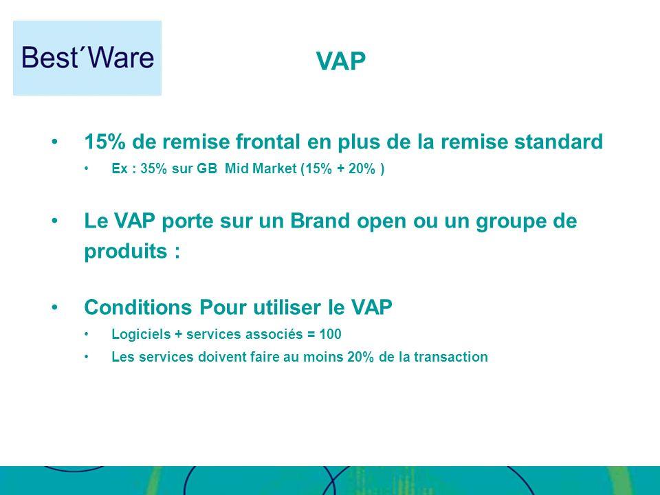 15% de remise frontal en plus de la remise standard Ex : 35% sur GB Mid Market (15% + 20% ) Le VAP porte sur un Brand open ou un groupe de produits :