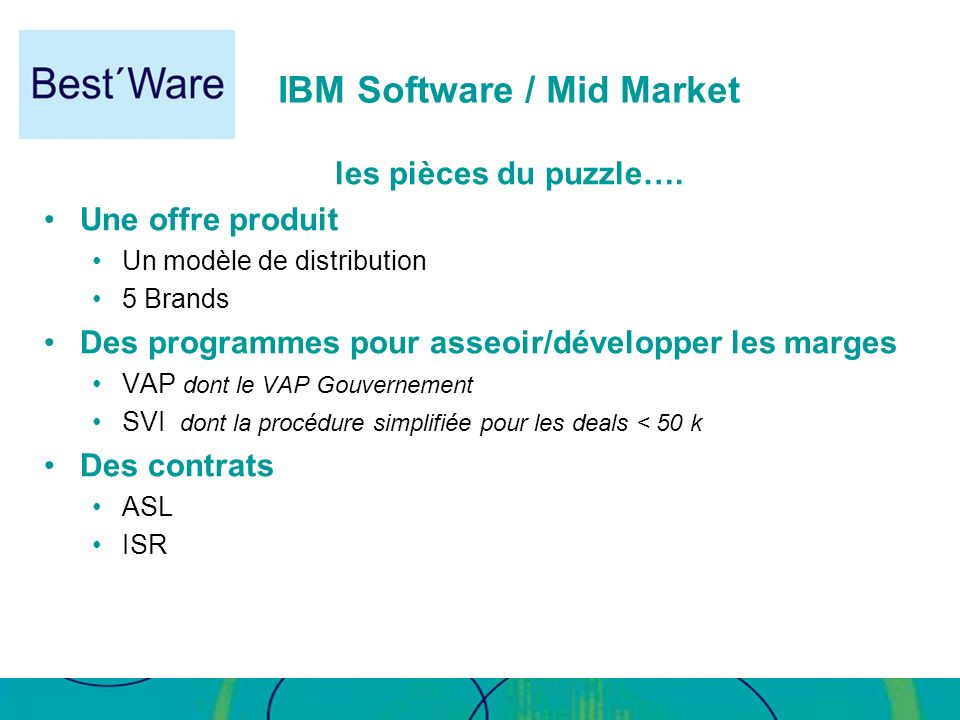 IBM Software / Mid Market les pièces du puzzle…. Une offre produit Un modèle de distribution 5 Brands Des programmes pour asseoir/développer les marge