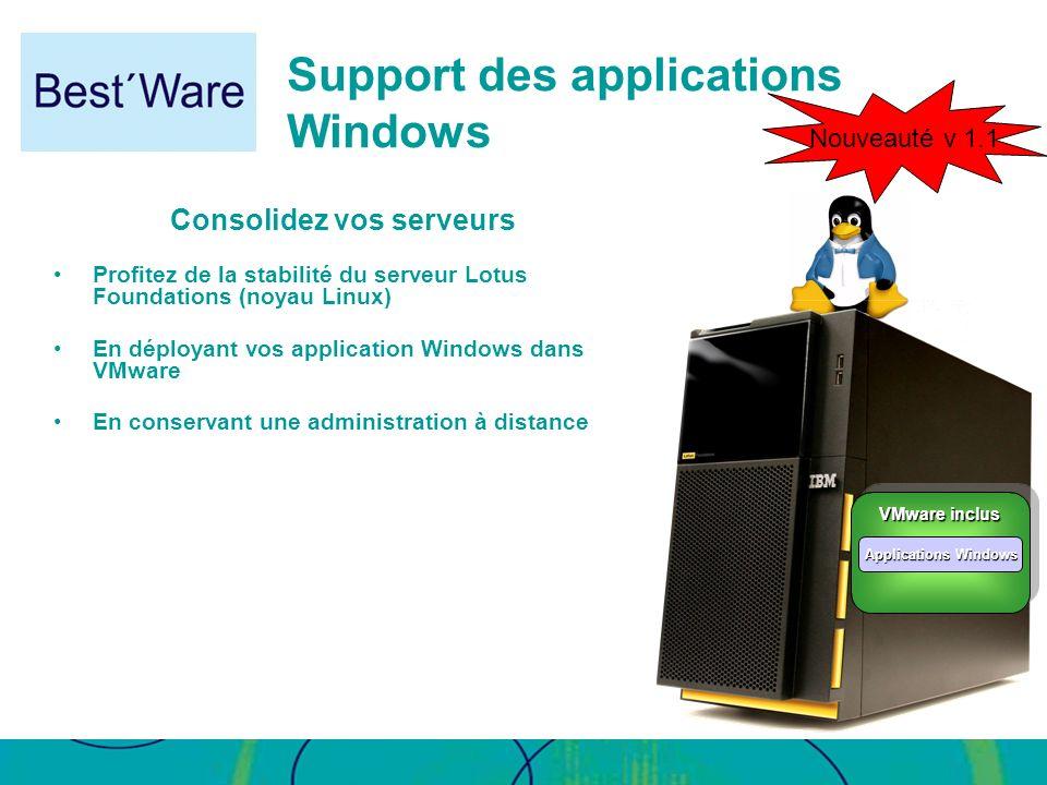 Support des applications Windows Consolidez vos serveurs Profitez de la stabilité du serveur Lotus Foundations (noyau Linux) En déployant vos applicat
