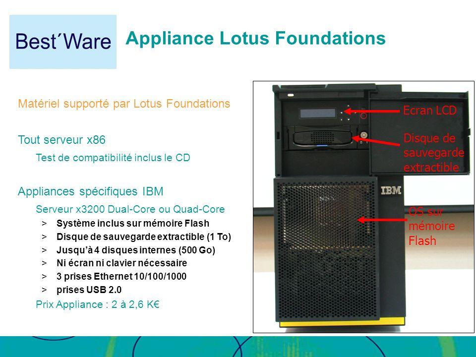 Appliance Lotus Foundations OS sur mémoire Flash Disque de sauvegarde extractible Ecran LCD Matériel supporté par Lotus Foundations Tout serveur x86 T