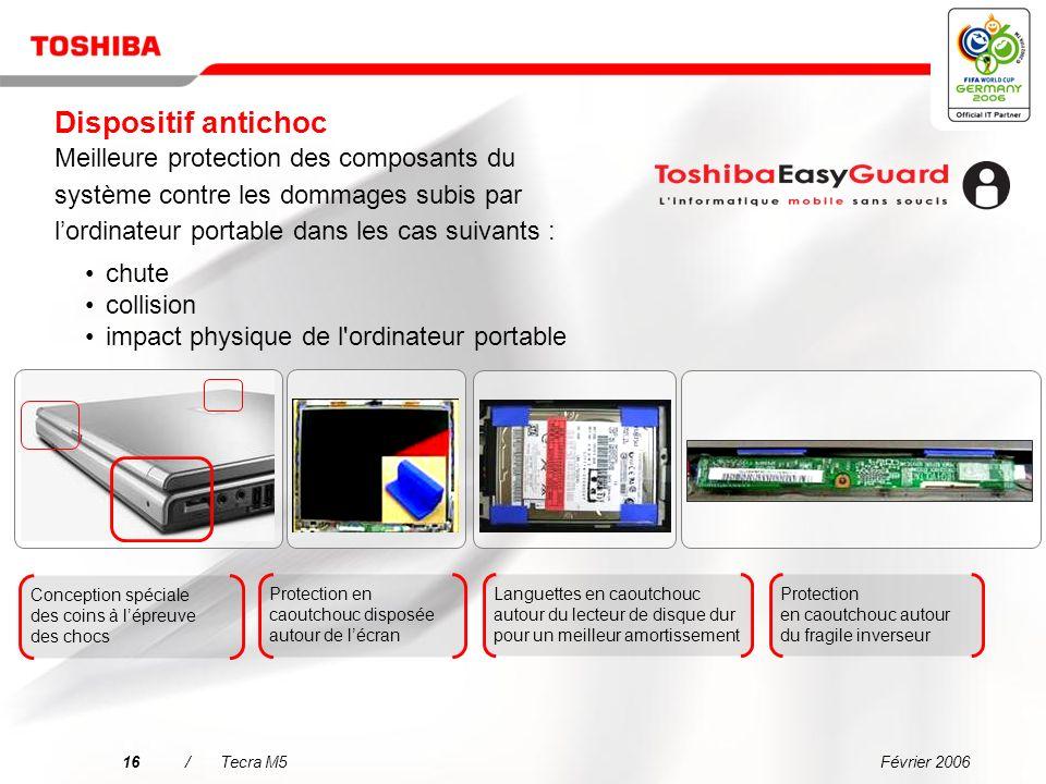 Février 200615/Tecra M5 Carte principale Toshiba avec capteur accéléromètre Dégagement de la tête de lecture/écriture Durabilité accrue du disque dur