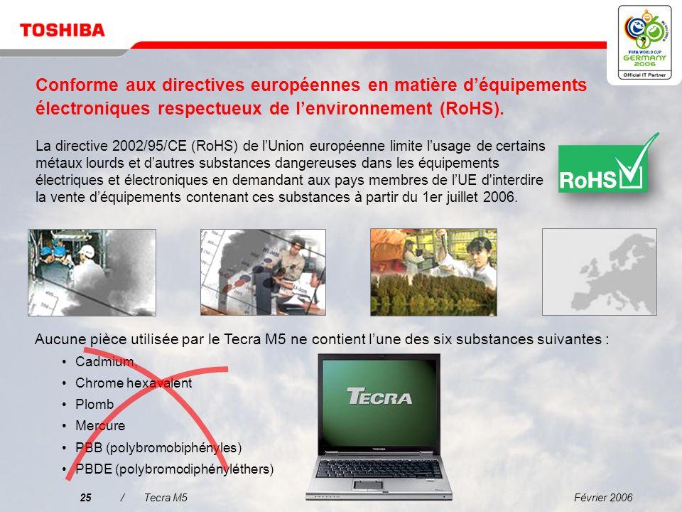 Février 200624/Tecra M5 Productivité mobile et convivialité améliorées Microsoft ® Windows ® XP Professional avec fonctions de sécurité, de gestion et