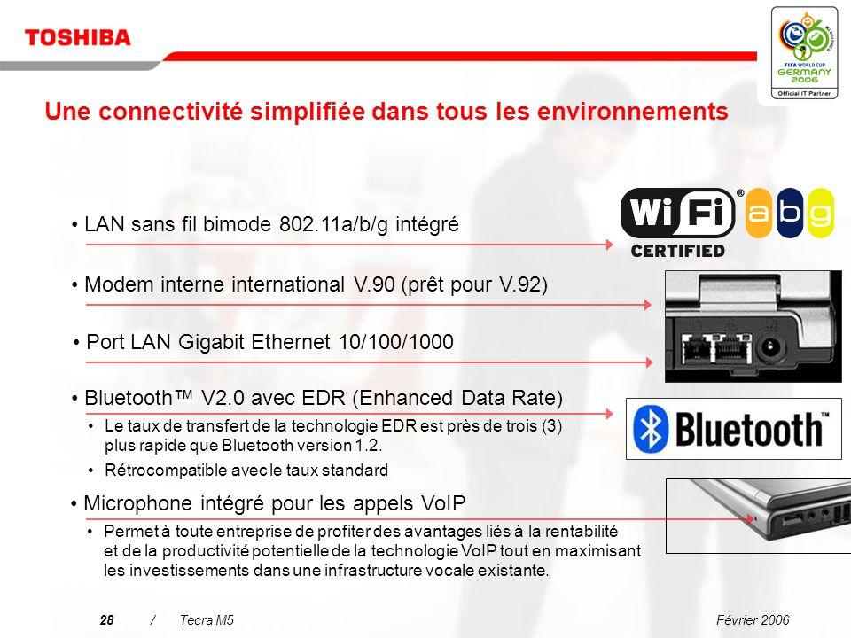 Février 200627/Tecra M5 Pourquoi choisir le Tecra M5 ? Une connectivité simplifiée dans tous les environnements Linformatique mobile de grande fiabili