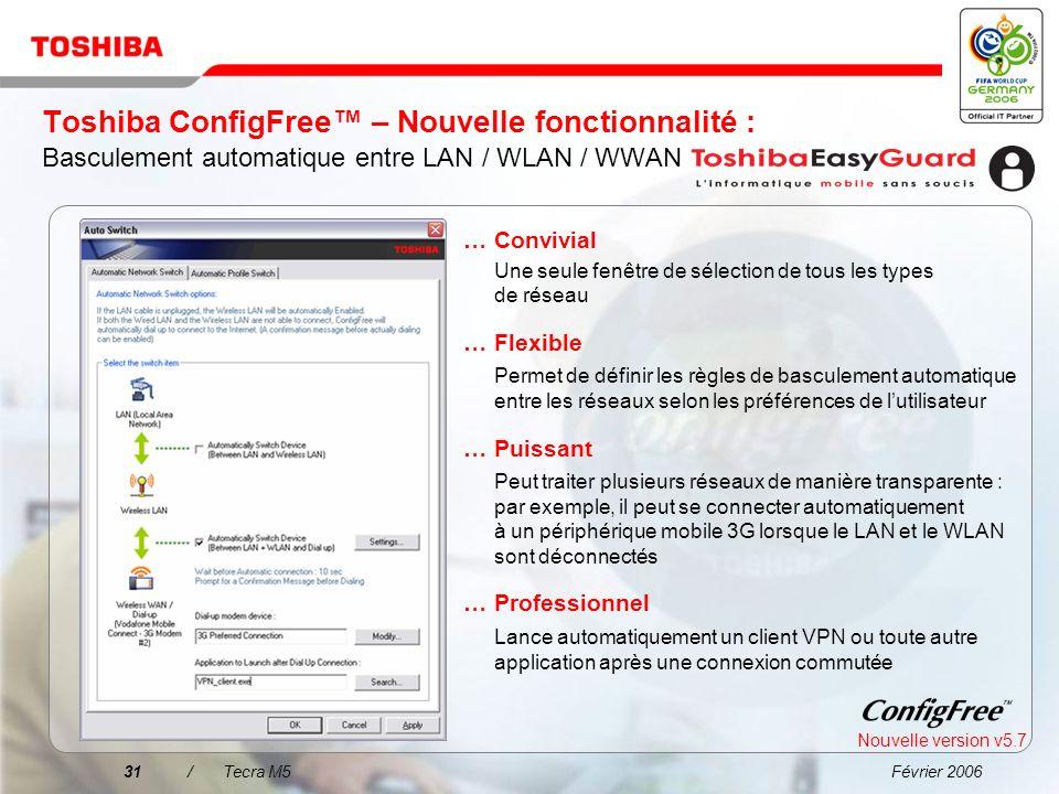Février 200630/Tecra M5 Toshiba ConfigFree La connexion à un réseau na jamais été aussi simple !... Facilité de recherche des réseaux WiFi à laide dun