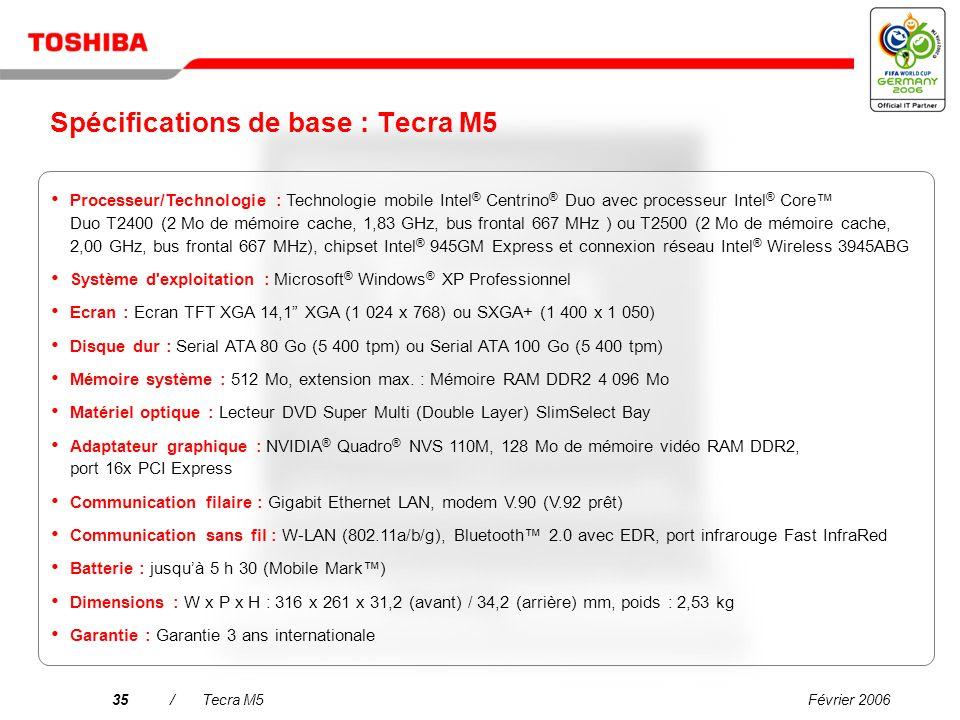 Février 200634/Tecra M5 Connexion sans fil de Toshiba avec téléphone Bluetooth v1.0 Utilisez le téléphone Bluetooth comme périphérique d'authentificat