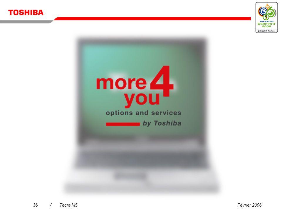 Février 200635/Tecra M5 Processeur/Technologie : Technologie mobile Intel ® Centrino ® Duo avec processeur Intel ® Core Duo T2400 (2 Mo de mémoire cac