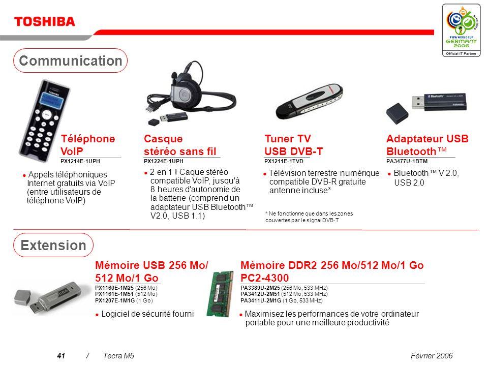 Février 200640/Tecra M5 Mini disque dur 80 Go PX1217E-1G08 Unité USB FDD externe PA3109E-3FDD Disque dur 160/250/320 Go PX1219E-1G16 (160 Go) PX1220E-