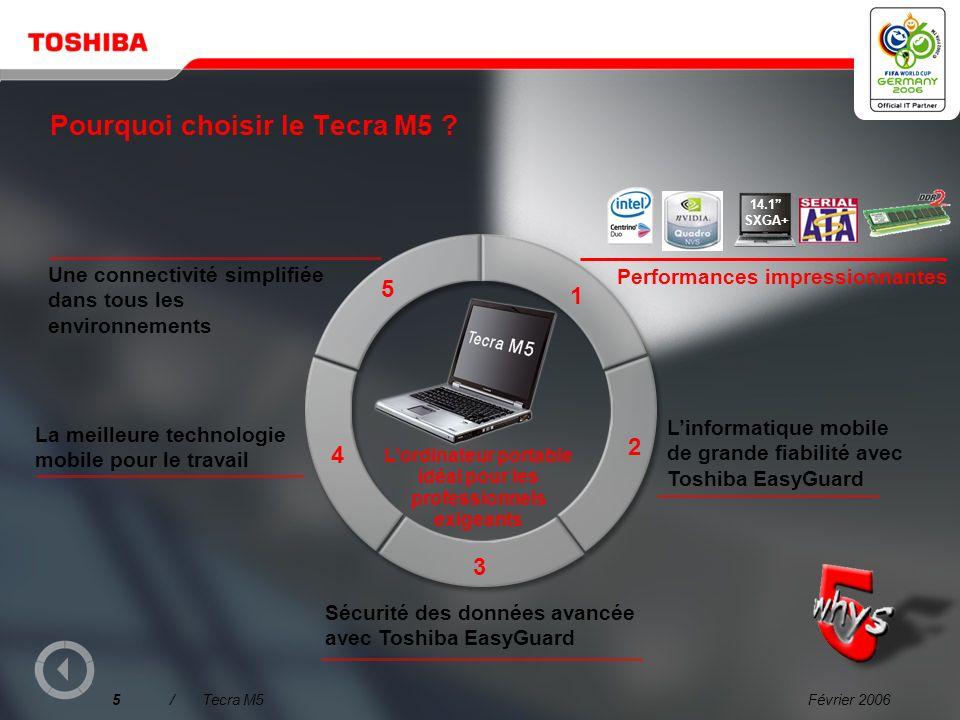 Février 20064/Tecra M5 Pourquoi choisir le Tecra M5 ? Une connectivité simplifiée dans tous les environnements Linformatique mobile de grande fiabilit