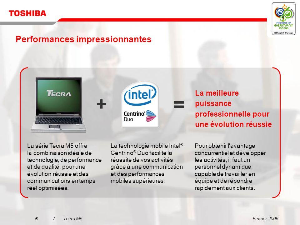 Février 20065/Tecra M5 Pourquoi choisir le Tecra M5 ? Une connectivité simplifiée dans tous les environnements Linformatique mobile de grande fiabilit