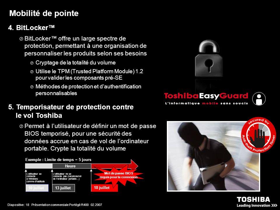 Diapositive : 18 Présentation commerciale Portégé R400 02.2007 4.