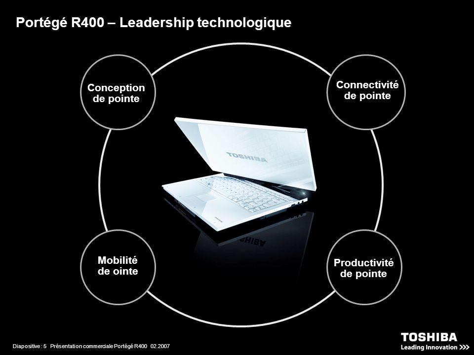 Diapositive : 5 Présentation commerciale Portégé R400 02.2007 Portégé R400 – Leadership technologique Connectivité de pointe Productivité de pointe Conception de pointe Mobilité de ointe