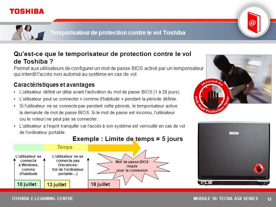 11 TOSHIBA E-LEARNING CENTREMODULE 10: TECRA A3X SERIES Fonctions et avantages de Toshiba EasyGuard Toshiba ConfigFree Logiciel développé par Toshiba