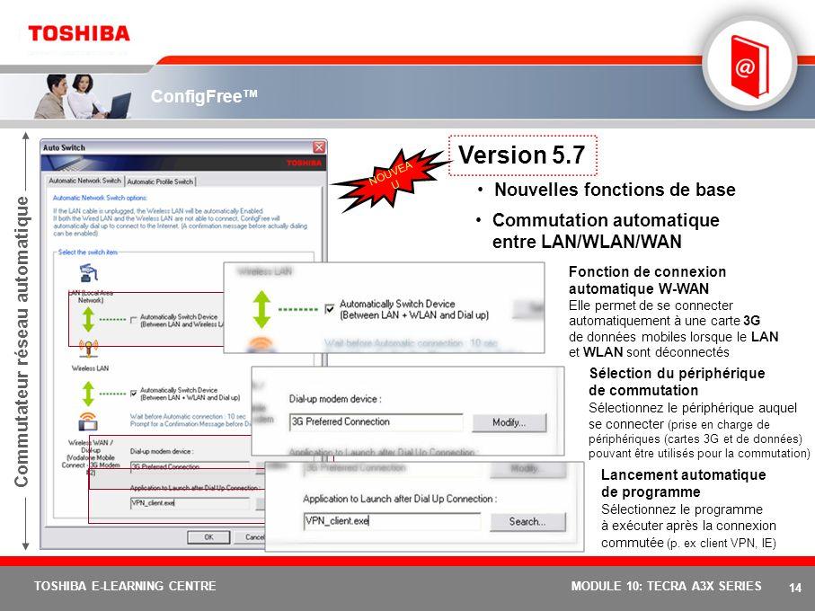 13 TOSHIBA E-LEARNING CENTREMODULE 10: TECRA A3X SERIES Connectivity Doctor Analysez votre connexion réseau et participez à la résolution du problème.