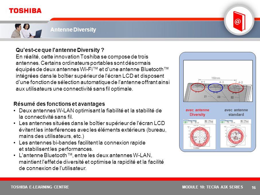 15 TOSHIBA E-LEARNING CENTREMODULE 10: TECRA A3X SERIES Toshiba Summit Résumé des fonctions et avantages Envoyez rapidement des fichiers vers d'autres