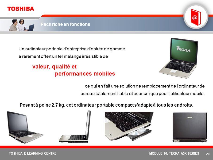 19 TOSHIBA E-LEARNING CENTREMODULE 10: TECRA A3X SERIES Conception durable Qu'est-ce que la conception durable ? Les activités R&D de Toshiba (fabrica